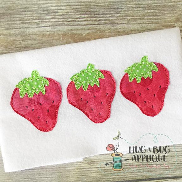 Strawberry Trio Bean Stitch Applique Design, Applique