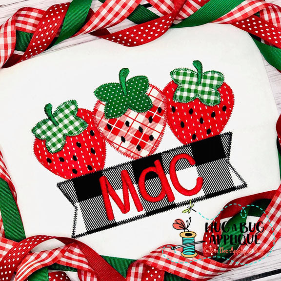 Strawberry Banner Zig Zag Stitch Applique Design