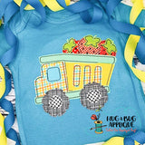 Strawberry Dumptruck Bean Stitch Applique Design-Embroidery Boutique