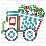 Strawberry Dumptruck Satin Stitch Applique Design