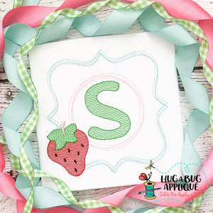 Strawberry Scribble Frame Embroidery Design, Applique