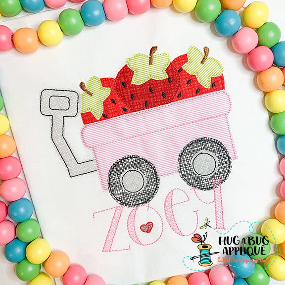 Strawberry Wagon Bean Stitch Applique Design