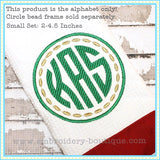 Striped Circle Embroidery Font - 2 inch to 4.5 inch, Embroidery Font