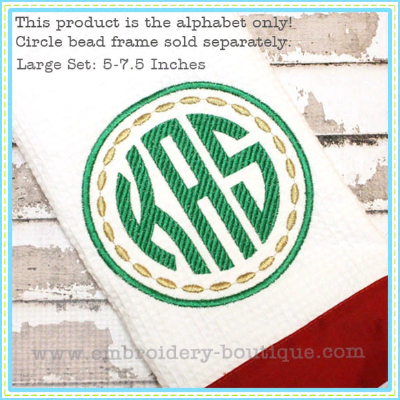Striped Circle Embroidery Font - 5 inch to 7.5 inch-Embroidery Boutique