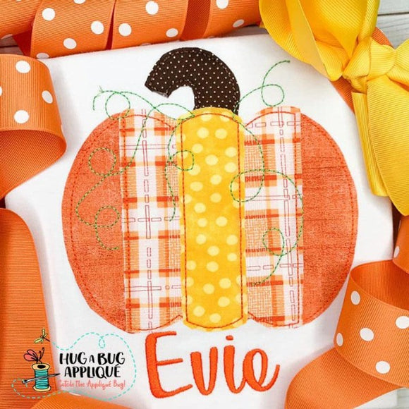 Striped Pumpkin Bean Stitch Applique Design
