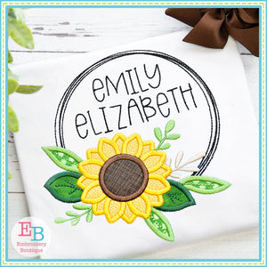 Sunflower Circle Frame Satin Stitch Applique, Applique