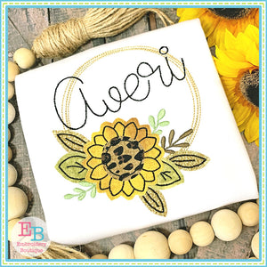 Sunflower Circle Frame Bean Stitch Applique, Applique
