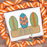 Surfboard Sand Box Bean Stitch Applique Design, Applique