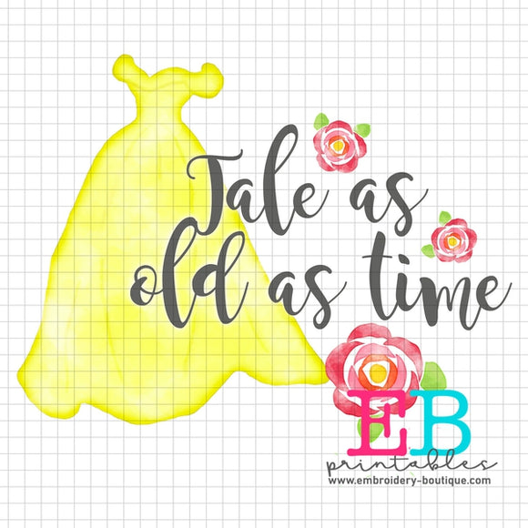 Tale As Old As Time Printable Design PNG - embroidery-boutique