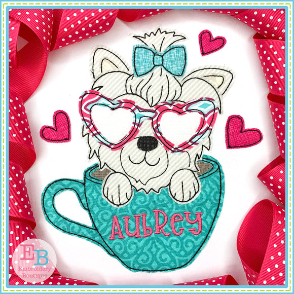 Teacup Yorkie Heart Glasses Bean Stitch Applique, Applique