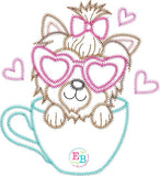 Teacup Yorkie Heart Glasses Zigzag Applique, Applique