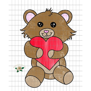 Valentine Teddy Bear PNG Printable Design