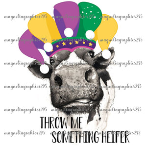 Throw me something heifer mardi gras design Printable Design PNG-Embroidery Boutique
