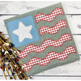 Flag Star Wave Zig Zag Stitch Applique Design, Applique