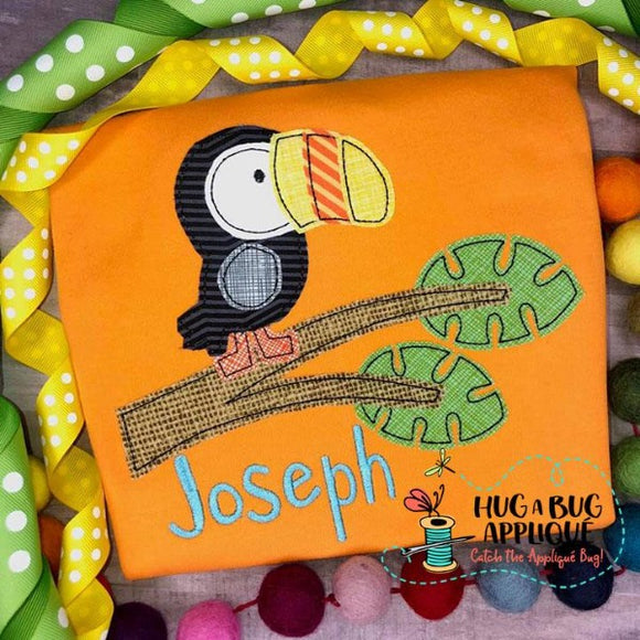 Toucan Tree Bean Stitch Applique Design, Applique