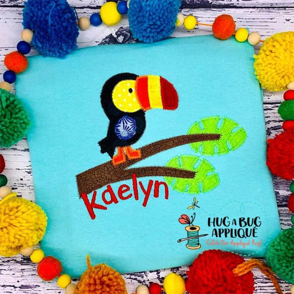 Toucan Tree Zig Zag Stitch Applique Design, Applique