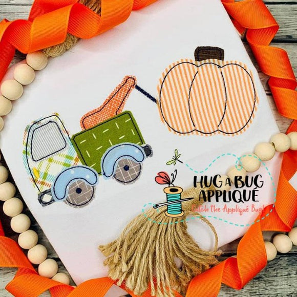 Tow Truck Pumpkin Bean Stitch Applique Design, Applique
