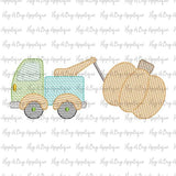 Tow Truck Pumpkin Sketch Stitch Embroidery Design, Embroidery