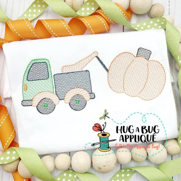 Tow Truck Pumpkin Sketch Stitch Embroidery Design