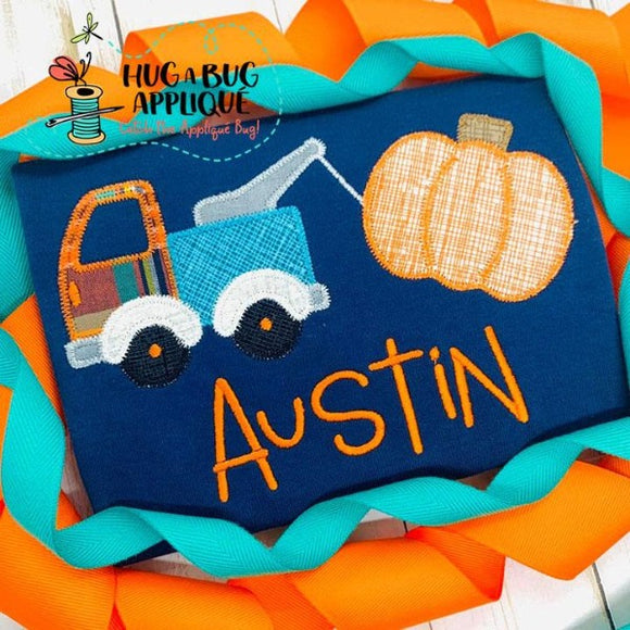 Tow Truck Pumpkin Zig Zag Stitch Applique Design, Applique