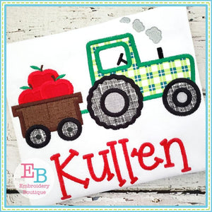 Tractor Apples Applique, Applique