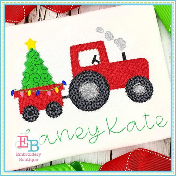 Tractor Tree Zigzag Applique, Applique