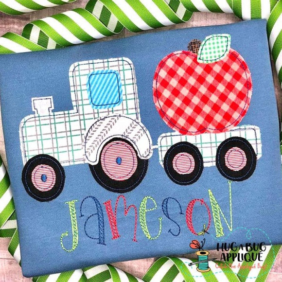 Tractor Apple Bean Stitch Applique Design, Applique