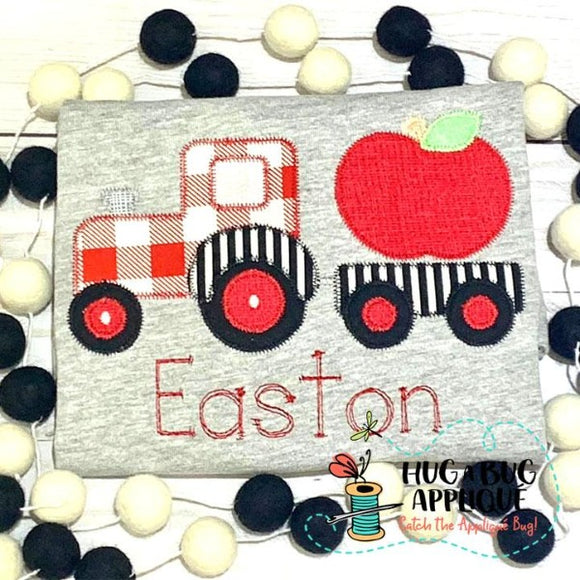 Tractor Apple Zig Zag Stitch Applique Design, Applique