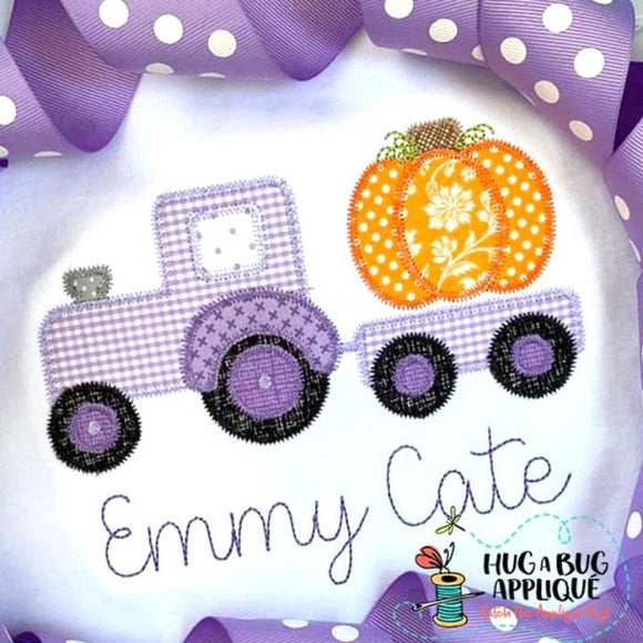 Tractor Pumpkin Zig Zag Stitch Applique Design, Applique