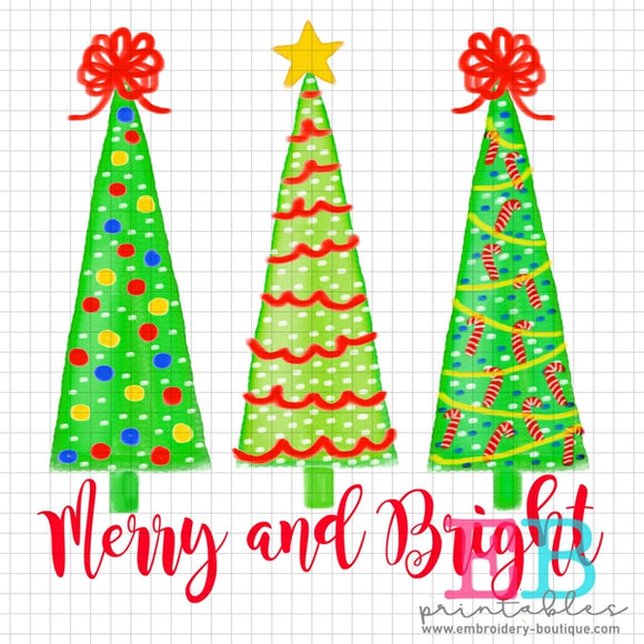Trees Watercolor Merry Printable Design PNG - embroidery-boutique
