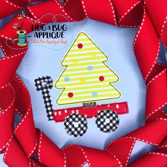 Tree Wagon Bean Stitch Applique Design, Applique