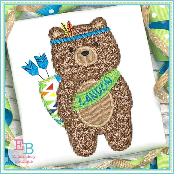 Tribal Boy Bear Zigzag Applique, Applique