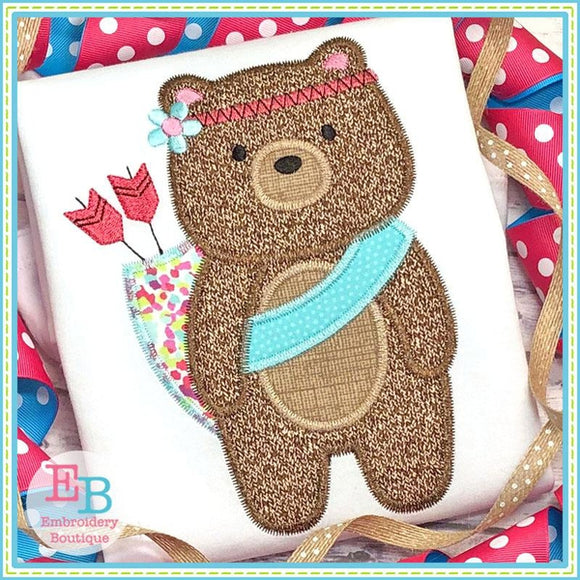 Tribal Girl Bear Zigzag Applique, Applique