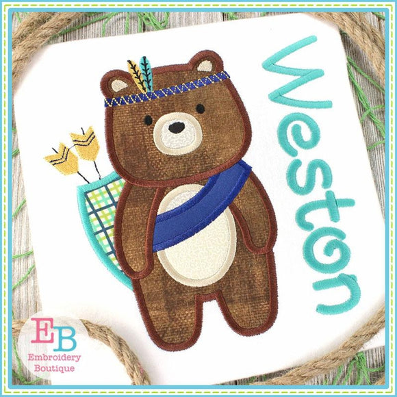 Tribal Boy Bear Satin Applique, Applique