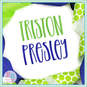 Triston Presley Embroidery Font, Embroidery Font