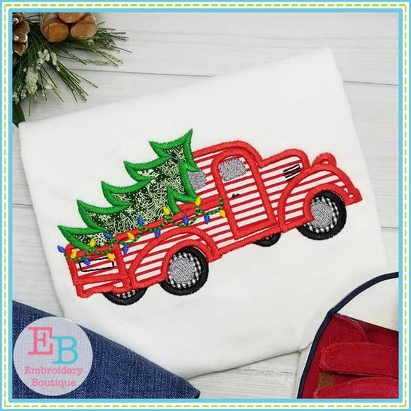 Vintage Christmas Truck Applique - embroidery-boutique