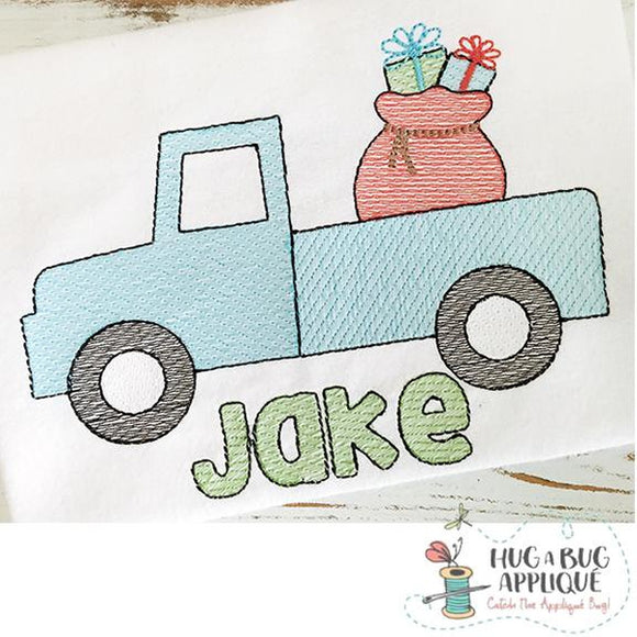 Truck Bag Filled Sketch Embroidery Design, Embroidery