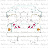Truck Bunny Bean Stitch Applique Design, Applique