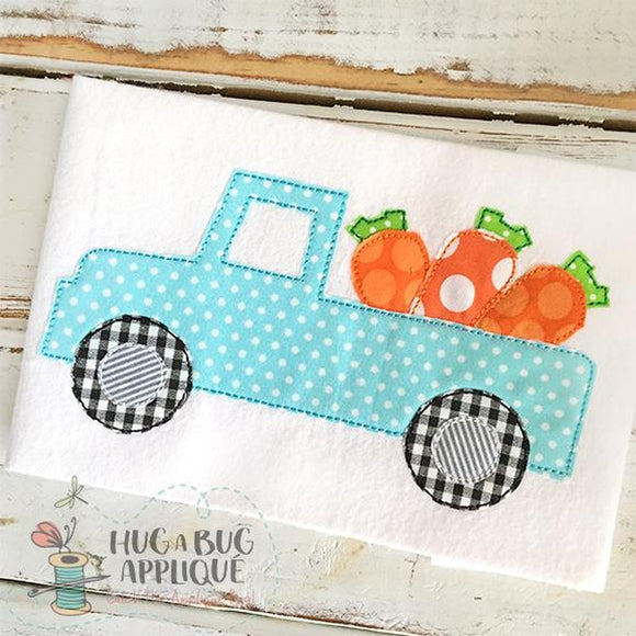 Truck Carrots Bean Stitch Applique Design, Applique