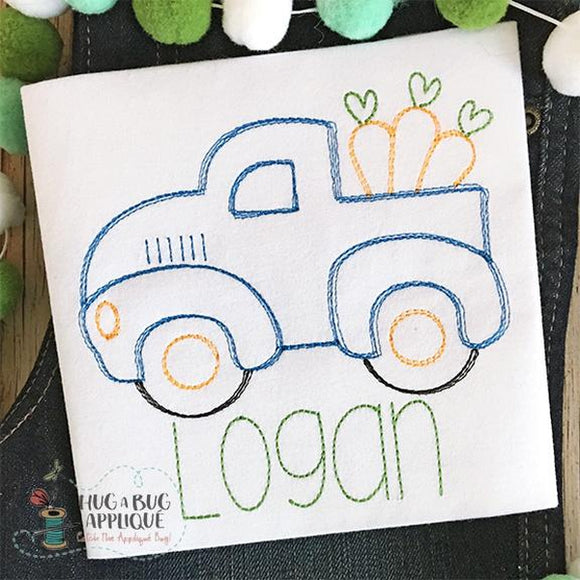 Truck Carrots Sketch Embroidery Design, Embroidery