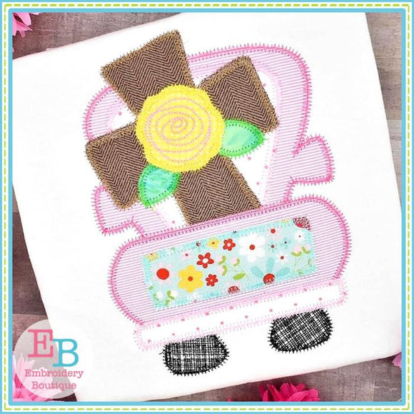 Truck Cross Rose Zigzag Applique, Applique