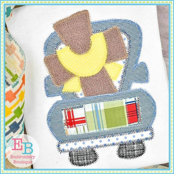 Truck Cross Sash Zigzag Applique, Applique