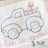 Truck Snowman Sketch Embroidery Design, Embroidery