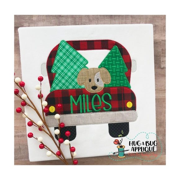 Truck Trees Dog Zig Zag Stitch Applique Design, Applique