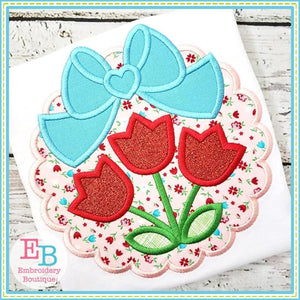 Scallop Tulips Big Bow Applique