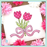 Tulips Bow Bean Stitch Applique, Applique