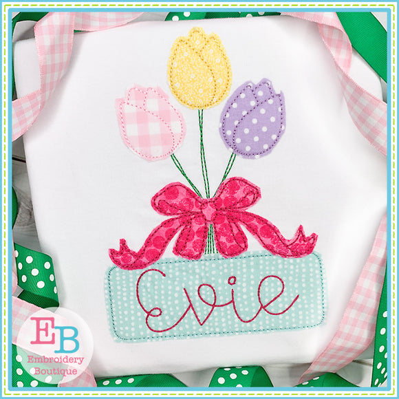 Tulip Bow Bunch Bean Applique