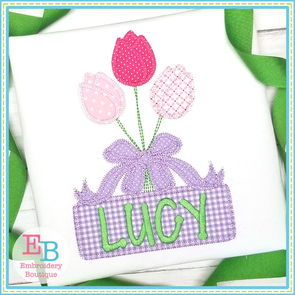 Tulip Bow Bunch Zigzag Applique