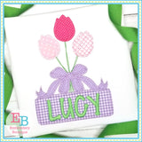Tulip Bow Bunch Zigzag Applique, Applique