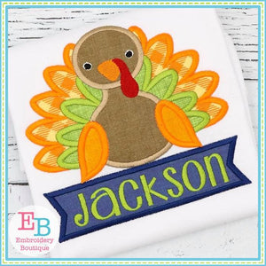Turkey Banner Boy Applique, Applique
